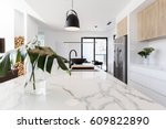 kitchen marble bench close up... | Shutterstock . vector #609822890