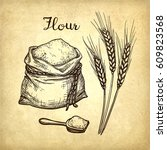 wheat  flour sack and scoop.... | Shutterstock .eps vector #609823568
