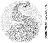 peacock in zentangle style.... | Shutterstock .eps vector #609828776
