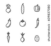 vegetables vegan food line...   Shutterstock .eps vector #609837080