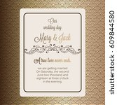 antique baroque luxury wedding... | Shutterstock .eps vector #609844580