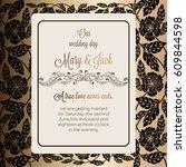 antique baroque luxury wedding... | Shutterstock .eps vector #609844598