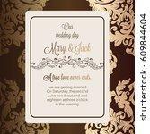 antique baroque luxury wedding... | Shutterstock .eps vector #609844604