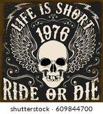 motorcycle poster design skull... | Shutterstock .eps vector #609844700