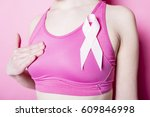 a fight for breast cancer woman ... | Shutterstock . vector #609846998