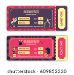 tickets design for a circus... | Shutterstock .eps vector #609853220