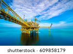 offshore oil and gas rig... | Shutterstock . vector #609858179