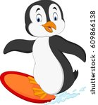 cartoon surfing penguin   Shutterstock .eps vector #609866138