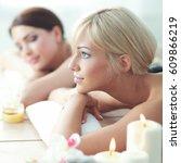 two young beautiful women... | Shutterstock . vector #609866219