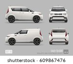 white freight suv car template... | Shutterstock .eps vector #609867476