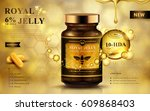 royal jelly ad with capsules... | Shutterstock .eps vector #609868403