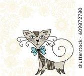 cute cartoon cat and beautiful...   Shutterstock .eps vector #609872780