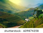 sun light on terraces rice... | Shutterstock . vector #609874358