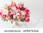 bouquet flowers in vase... | Shutterstock . vector #609876566