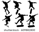 set of silhouettes teenager... | Shutterstock .eps vector #609882800