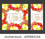 invitation with floral... | Shutterstock . vector #609883106