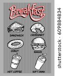 breakfast food and drink | Shutterstock .eps vector #609884834