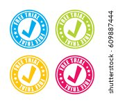 colorful free trial stamp labels | Shutterstock .eps vector #609887444