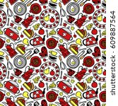 kitchen accessories  pot ... | Shutterstock .eps vector #609887564