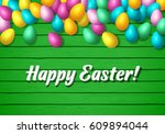 easter frame with shiny... | Shutterstock .eps vector #609894044
