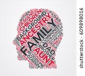 family word cloud head... | Shutterstock .eps vector #609898016