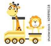 cartoon giraffe and lion on a...   Shutterstock .eps vector #609898118
