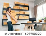 young asian small business... | Shutterstock . vector #609900320