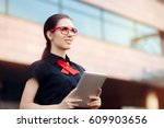 businesswoman with pc tablet... | Shutterstock . vector #609903656
