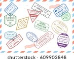 travel stamps set on mail...   Shutterstock .eps vector #609903848