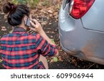 beautiful woman car accident on ... | Shutterstock . vector #609906944