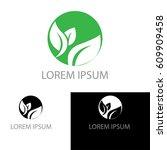 green leaf circle company logo | Shutterstock .eps vector #609909458
