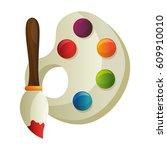 paint brush and pallete | Shutterstock .eps vector #609910010