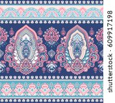 beautiful indian floral paisley ... | Shutterstock .eps vector #609917198