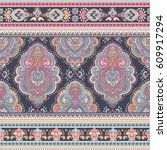 beautiful indian floral paisley ... | Shutterstock .eps vector #609917294