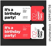 birthday party invitation in... | Shutterstock .eps vector #609918758