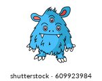 cute monster . vector... | Shutterstock .eps vector #609923984