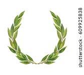 watercolor bay leaf wreath... | Shutterstock . vector #609925838