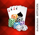 playing cards with casino coins ... | Shutterstock .eps vector #609926306