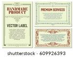 vector flowers vintage labels... | Shutterstock .eps vector #609926393