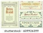 vector flowers vintage labels... | Shutterstock .eps vector #609926399
