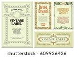 vector flowers vintage labels... | Shutterstock .eps vector #609926426