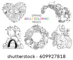 set of spring adult coloring... | Shutterstock .eps vector #609927818
