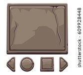 set cartoon brown stone assets...