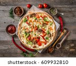 large vegeterian pizza with... | Shutterstock . vector #609932810