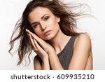 close up portrait of cute young ... | Shutterstock . vector #609935210