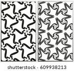 vector monochrome seamless... | Shutterstock .eps vector #609938213