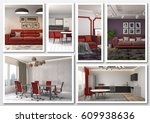 collage of modern home red... | Shutterstock . vector #609938636