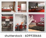 collage of modern home red... | Shutterstock . vector #609938666