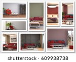 collage of modern home red... | Shutterstock . vector #609938738