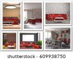 collage of modern home red... | Shutterstock . vector #609938750